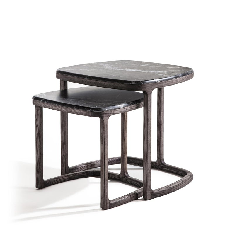 Side table Asher set of 2 with structure in solid ashwood