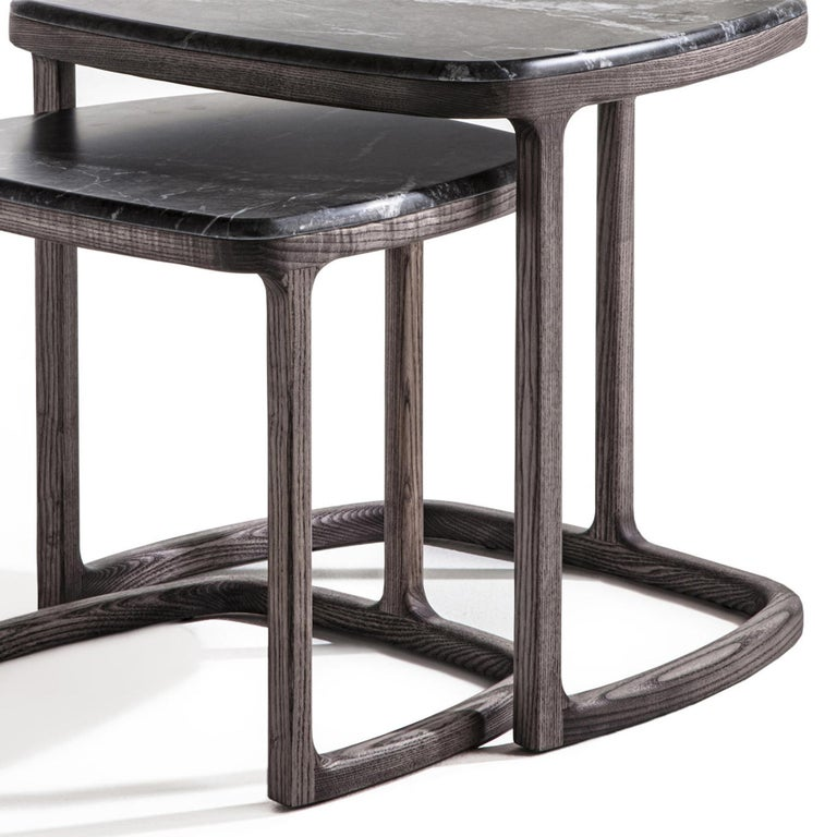Contemporary Asher Set of 2 Side Table For Sale