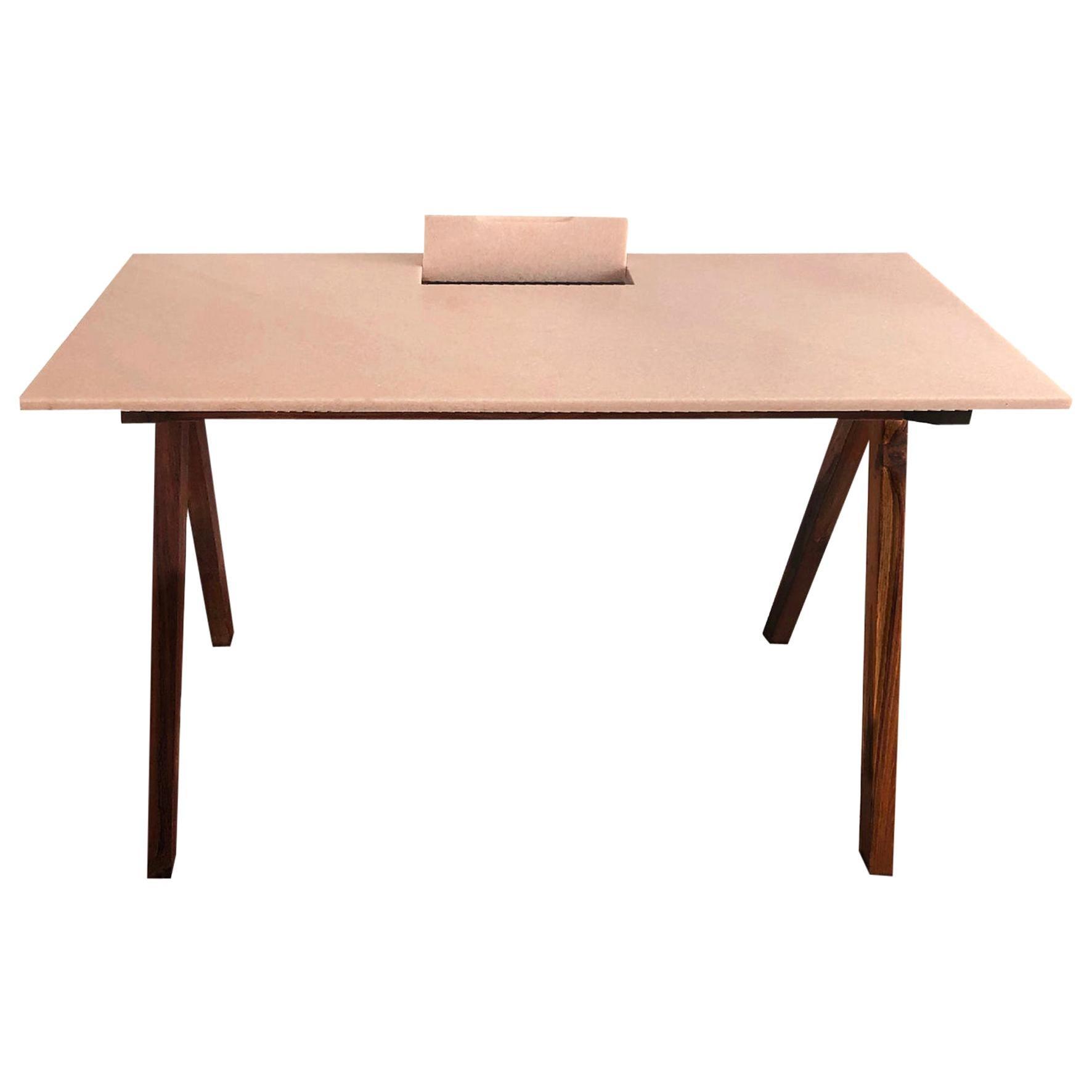 Ashiana, a Marble and Wood Desk, Design by Matang and Natasha Sumant