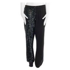 """ASHISH black sequins embellished drawstring cotton jersey sweat pants S 30"""""""