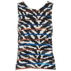ASHISH black white horizontal stripe sequins embellished boxy tank top XS