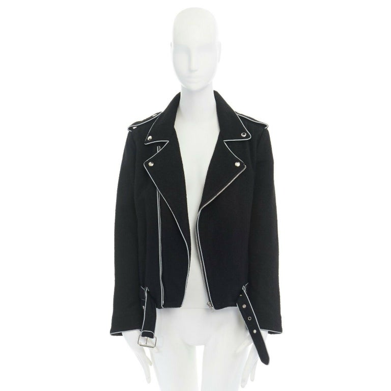 Black ASHISH black wool silver reflective trimming oversized zip up biker jacket XS For Sale