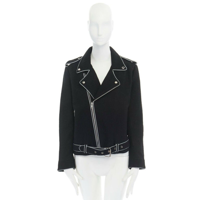 ASHISH black wool silver reflective trimming oversized zip up biker jacket XS In Excellent Condition For Sale In Hong Kong, NT