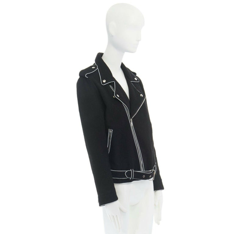 Women's ASHISH black wool silver reflective trimming oversized zip up biker jacket XS For Sale
