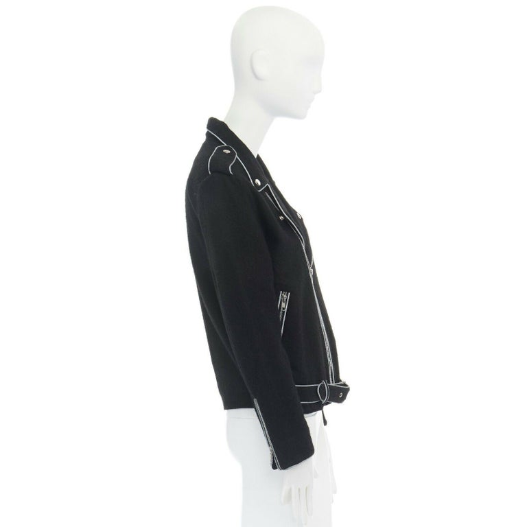ASHISH black wool silver reflective trimming oversized zip up biker jacket XS For Sale 1