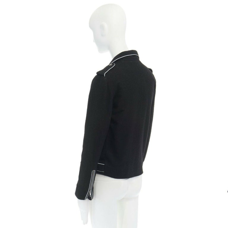 ASHISH black wool silver reflective trimming oversized zip up biker jacket XS For Sale 2