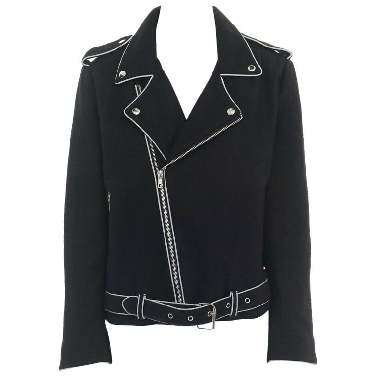 ASHISH black wool silver reflective trimming oversized zip up biker jacket XS For Sale