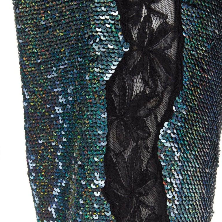 Black ASHISH blue holograph sequins floral lace trimmed side sweatpants S 29