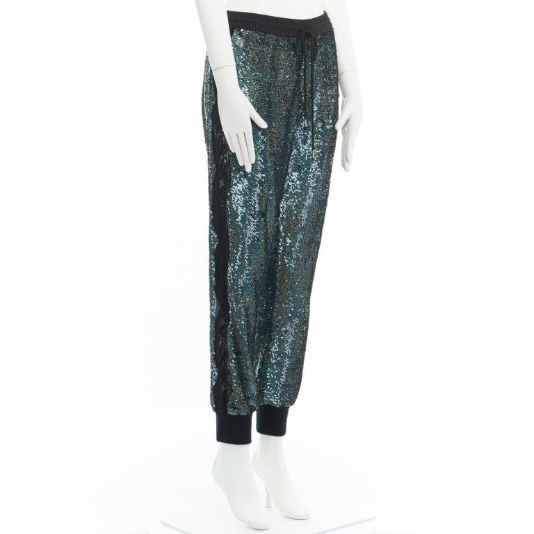 ASHISH blue holograph sequins floral lace trimmed side sweatpants S 29