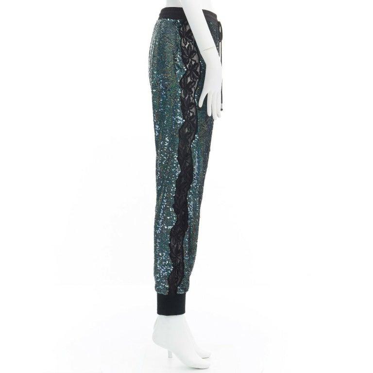 Women's ASHISH blue holograph sequins floral lace trimmed side sweatpants S 29