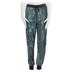 ASHISH blue holograph sequins floral lace trimmed side sweatpants S 29""
