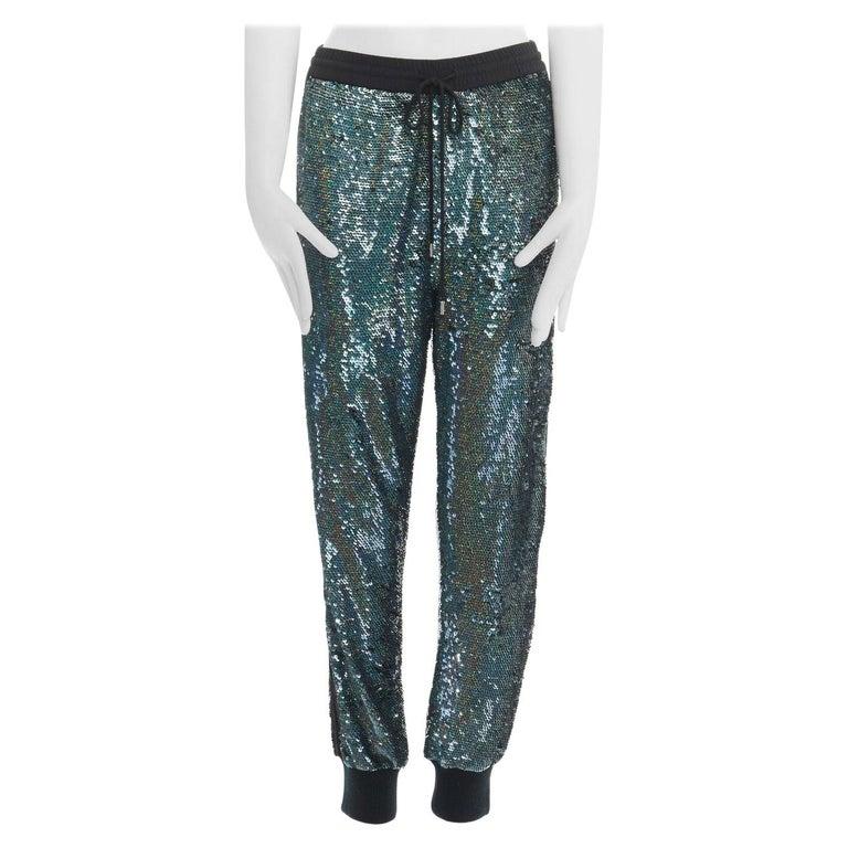 "ASHISH blue holograph sequins floral lace trimmed side sweatpants S 29"" For Sale"