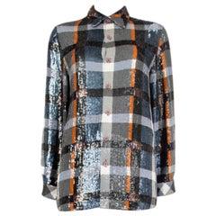 ASHISH grey orange blue cotton SEQUIN PLAID Button-Up Shirt S