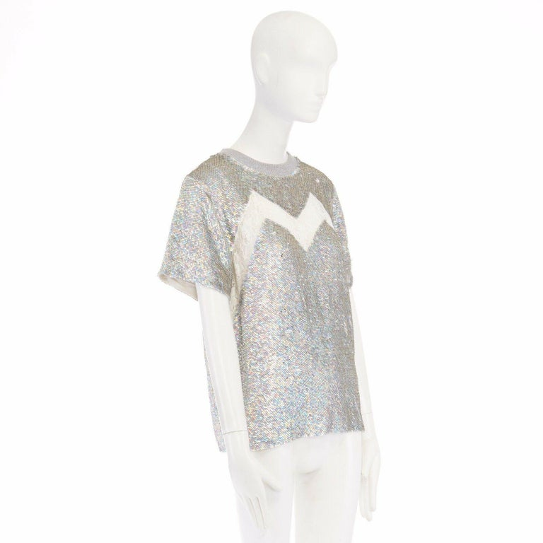Gray ASHISH iridescent silver sequin white lace sweater top XS US0 UK6 IT38 FR34 For Sale