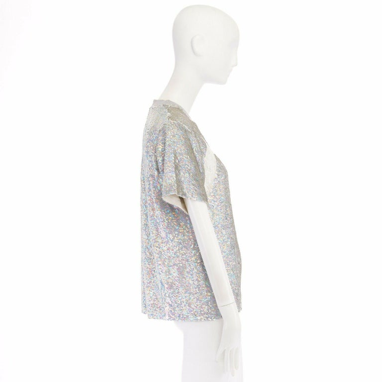 ASHISH iridescent silver sequin white lace sweater top XS US0 UK6 IT38 FR34 In Excellent Condition For Sale In Hong Kong, NT