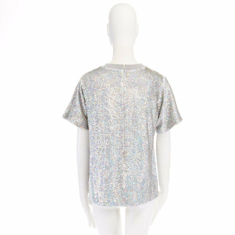 Women's ASHISH iridescent silver sequin white lace sweater top XS US0 UK6 IT38 FR34 For Sale