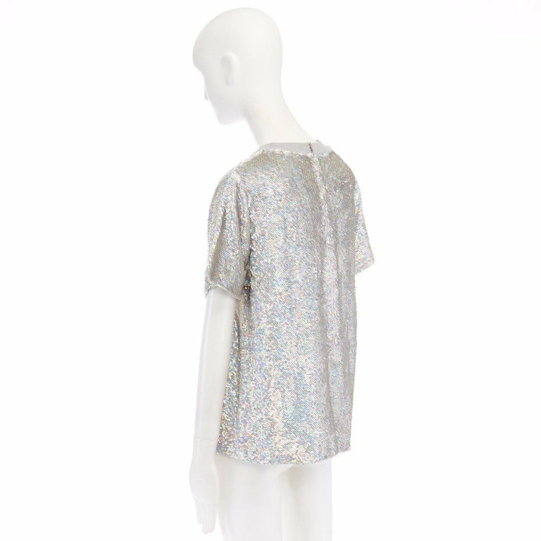 ASHISH iridescent silver sequin white lace sweater top XS US0 UK6 IT38 FR34 For Sale 1