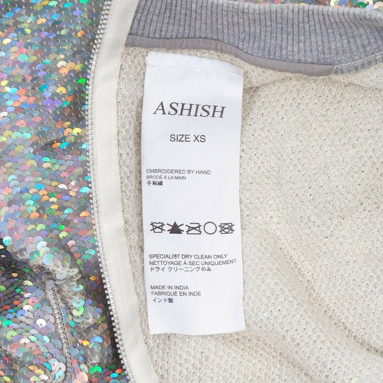 ASHISH iridescent silver sequin white lace sweater top XS US0 UK6 IT38 FR34 For Sale 3