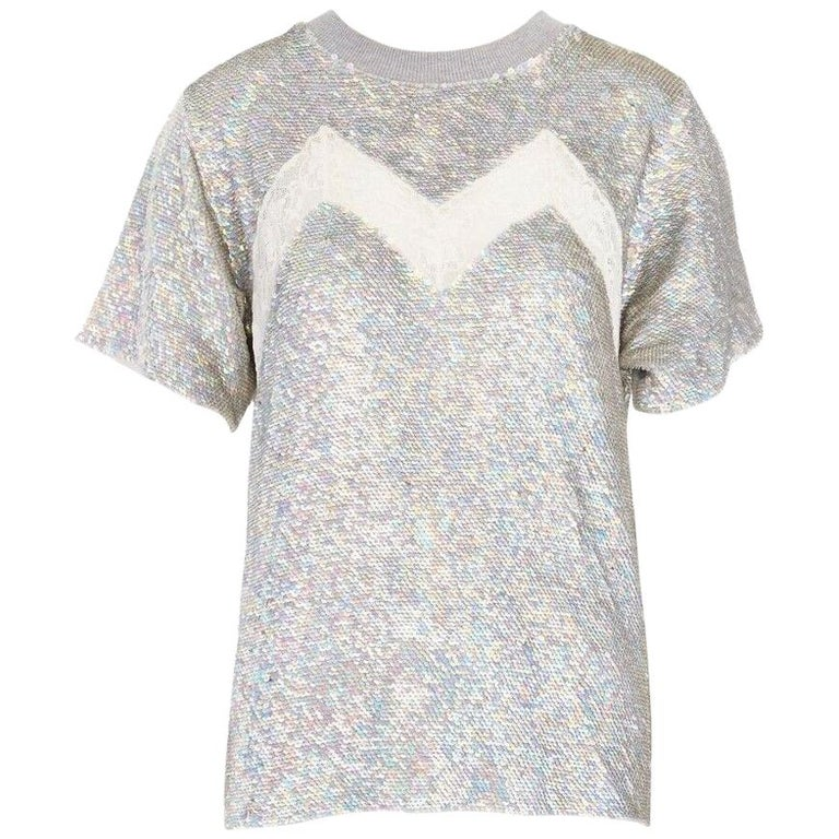 ASHISH iridescent silver sequin white lace sweater top XS US0 UK6 IT38 FR34 For Sale