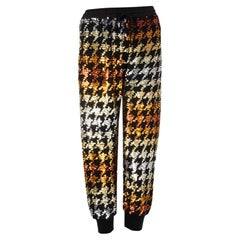 ASHISH multicolor SEQUIN HOUNDSTOOTH TRACK Joggers Pants XS