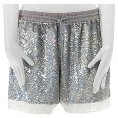 ASHISH silver iridescent sequins white lace hem drawstring cotton shorts XS
