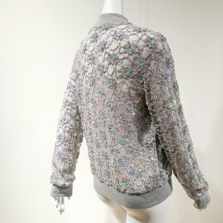 Ashish Silver Sequin Gray Lace Bomber Jacket - Never Worn In Excellent Condition For Sale In San Francisco, CA