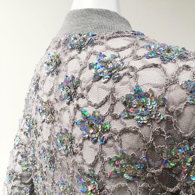 Women's Ashish Silver Sequin Gray Lace Bomber Jacket - Never Worn For Sale