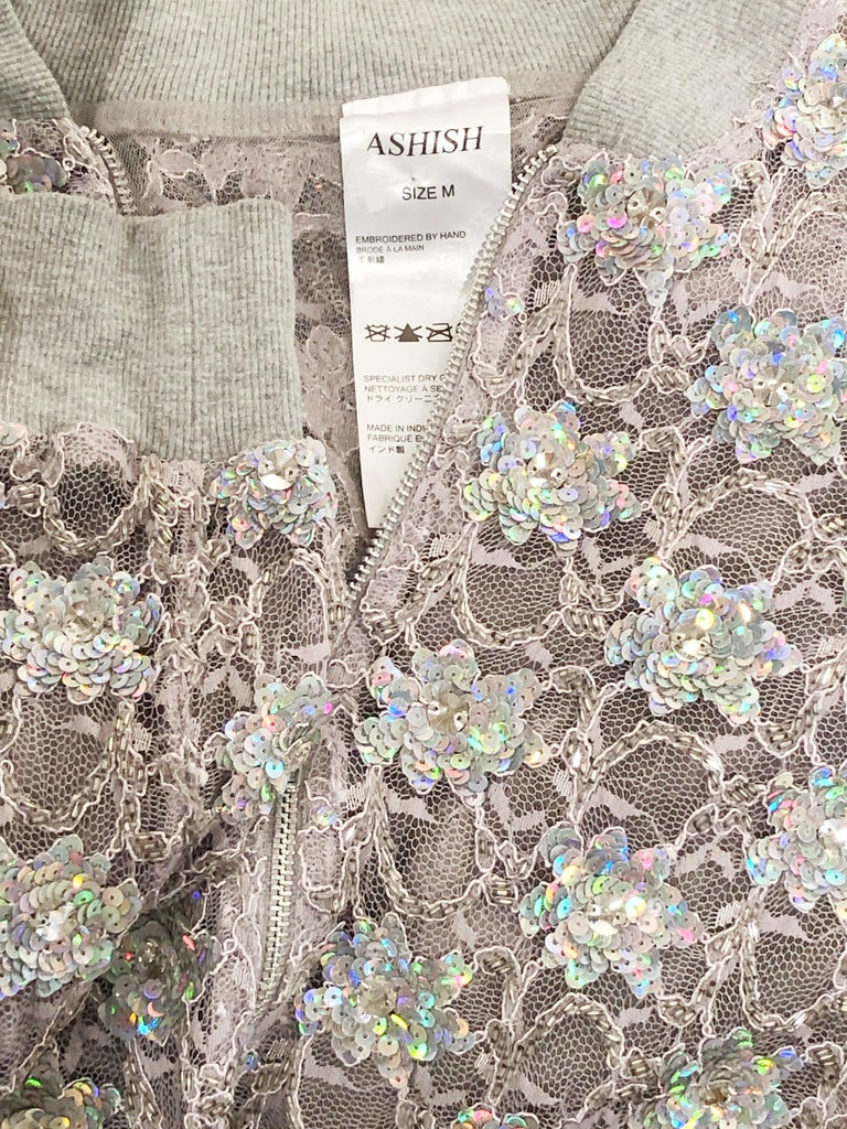 Ashish Silver Sequin Gray Lace Bomber Jacket - Never Worn For Sale 1
