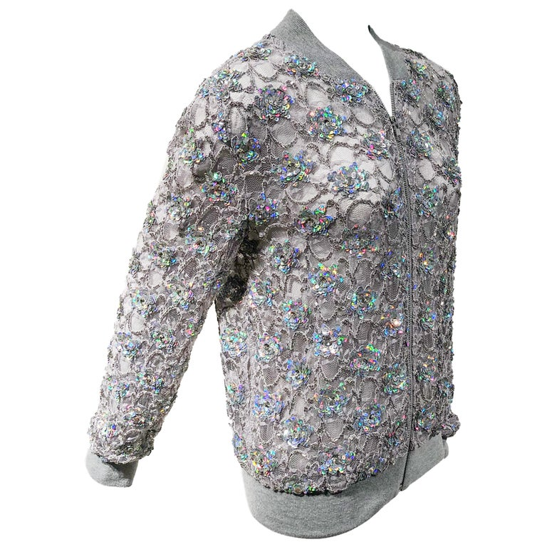 Ashish Silver Sequin Gray Lace Bomber Jacket - Never Worn For Sale