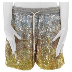 ASHISH silver yellow gradient sequins drawstring cotton jersey shorts XS