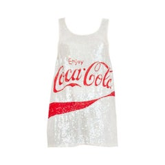 ASHISH white & red COCA COLA SEQUIN Tank Top Shirt XS