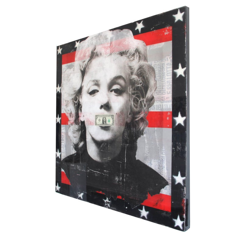 Believe in Yourself - Mixed Media and Resin Artwork featuring Marilyn Monroe - Brown Figurative Painting by Ashleigh Sumner