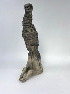 Ceramic Paper Clay figurative Sculpture: 'Sometimes It Can Feel Very Heavy'