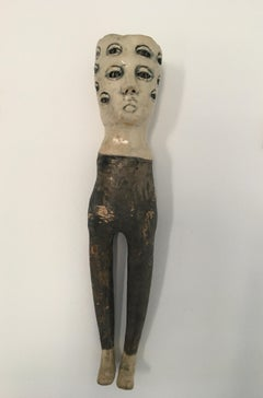 Ceramic wall hanging sculpture: 'She kept looking and some things changed'