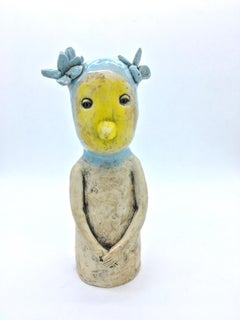 Figurative ceramic sculpture: 'I am a sweet chickedee'