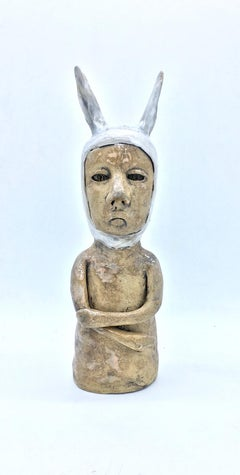 Figurative ceramic sculpture: 'I'm just not sure'