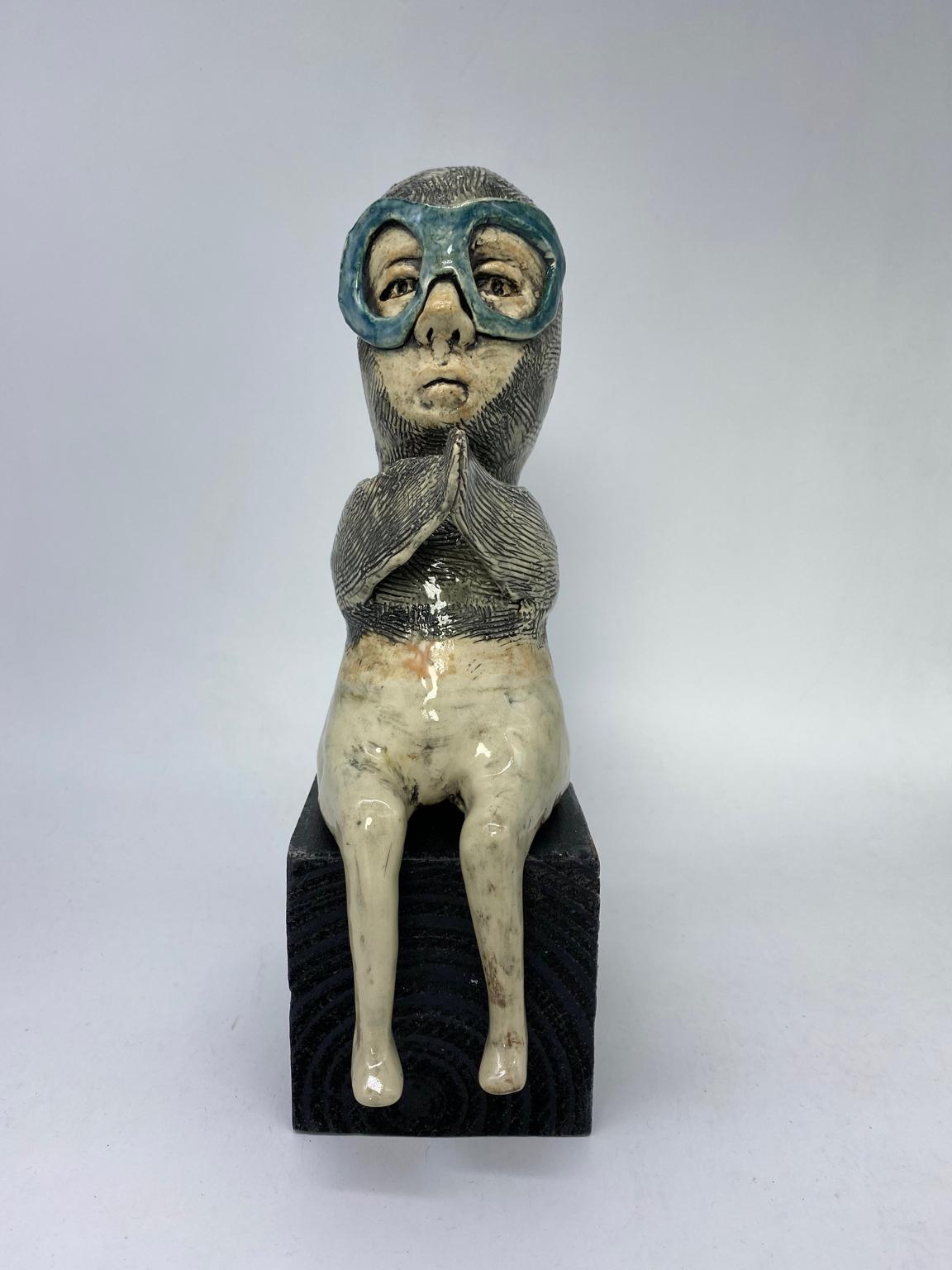 Figurative Ceramic Sculpture: 'Oh That Is Inspiring'