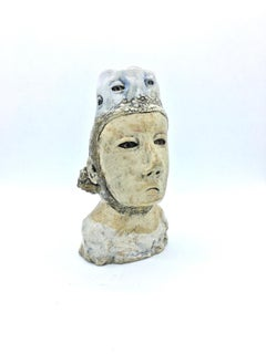 Figurative ceramic sculpture: 'Once she could see she regretted looking'