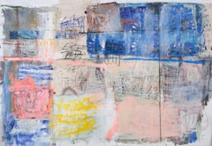 Handwriting India Temple, Acrylic and Charcoal on Unstretched Canvas, Signed