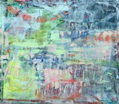 India: Windows, Acrylic and Charcoal on Unstretched Canvas, Signed