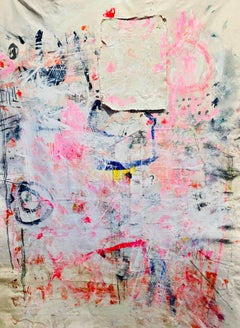 Pink Graffiti, Abstract Acrylic and Charcoal on Unstretched Canvas, Signed