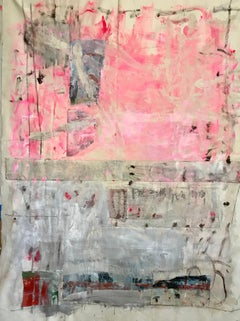 Pink Handwriting, Abstract Acrylic and Charcoal on Unstretched Canvas, Signed