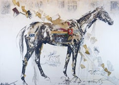 Sundar- framed large scale horse painting in black and white