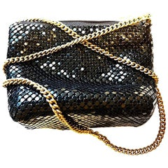 Ashley Moore Black Enameled Metal Mesh Evening Bag with Gold Chain