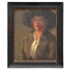 Ashley T. Law 1913 Portrait Painting of a Woman