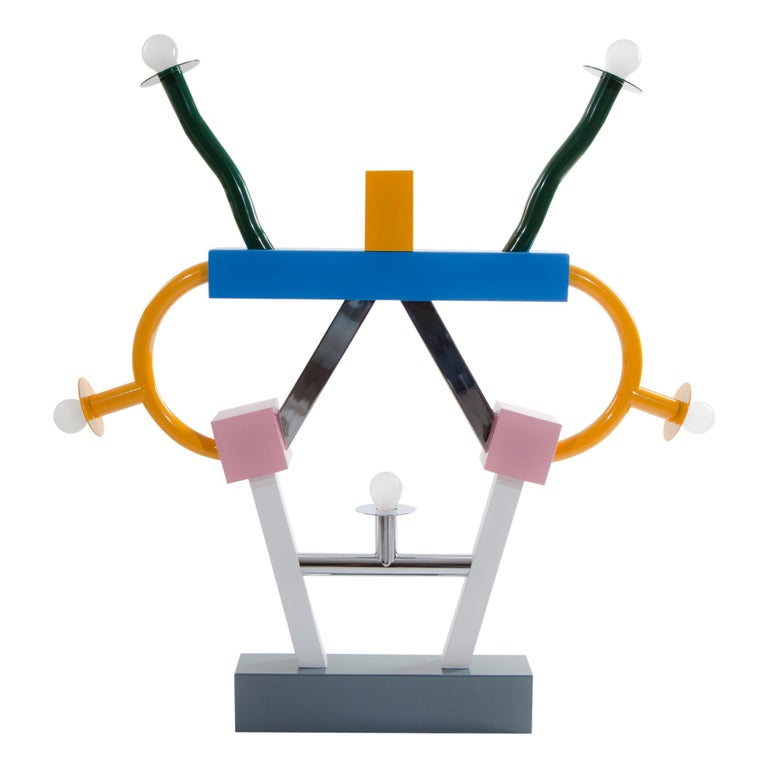 Ashoka Metal Table Lamp USA 110 Volts, by Ettore Sottsass for Memphis Milano C. For Sale