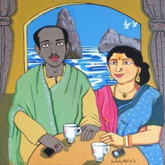 """Couple, Bengali, Acrylic on Canvas, Red, Blue, Green, Indian Artist""""In Stock"""""""