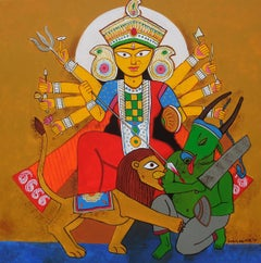 """Durga Goddess of Hindu, Acrylic on Canvas, Red,Yellow by Indian Artist""""In Stock"""""""