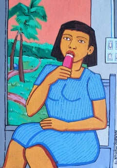 "Girl Eating Ice-cream, Blue , Green, Acrylic-Canvas,by Indian Artist ""In Stock"""