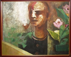 Man smoking cigar, figurative, acrylic in green, pink, brown by Indian Artist